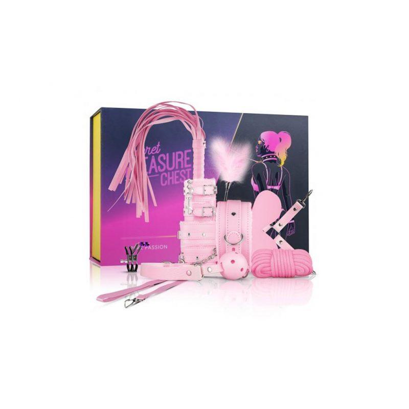 kit secret pink pleasure set de bondage rosa caja